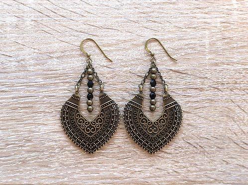 """Boucles d'oreilles """"Héma"""" - Bronze / Noir"""