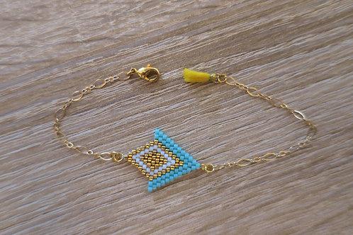 "Bracelet ""Angelina"" - Bleu turquoise / Doré"