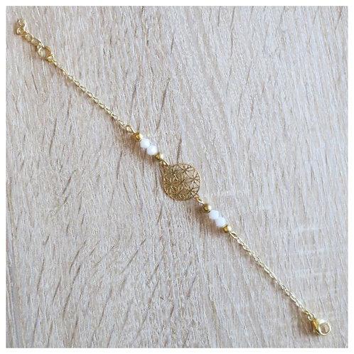 "Bracelet ""Betty"" - Doré / Blanc"