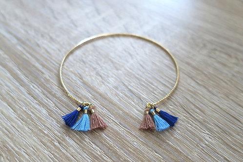 """Bracelet """"Alexa"""" - Doré / Beige / Bleu"""