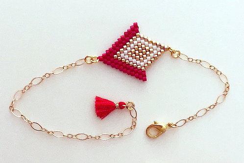"Bracelet ""Angelina"" - Rouge / Blanc / Doré"