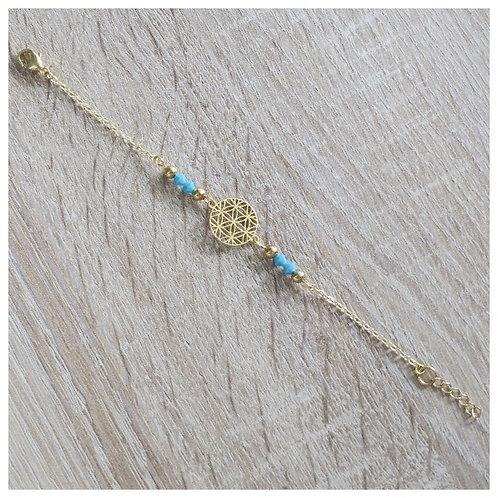 """Bracelet """"Betty"""" - Doré / Turquoise"""