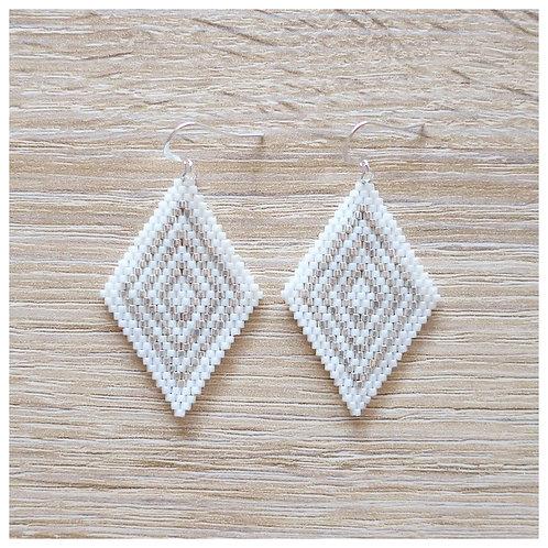 """Boucles """"Diamante"""" - Argenté / Blanc"""
