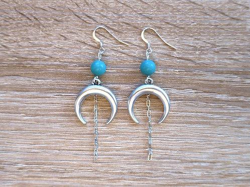 """Boucles """"Luna"""" - Argenté / Jade bleu turquoise"""