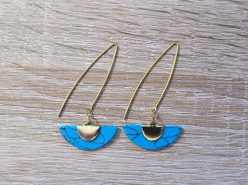 "Boucles ""Cléopatre"" - Doré / marbre bleu"