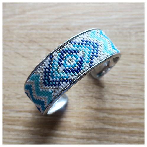 """Bracelet """"Thàlassa"""" - Argenté / Bleu nuit / Bleu azur / Turquoise"""