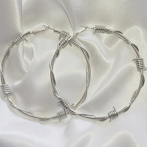 XL barbed wire hoop earrings