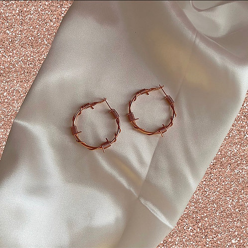Rose gold small/medium barbed wire hoops