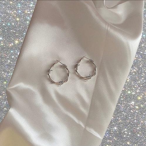 Mini barbed wire hoop earrings