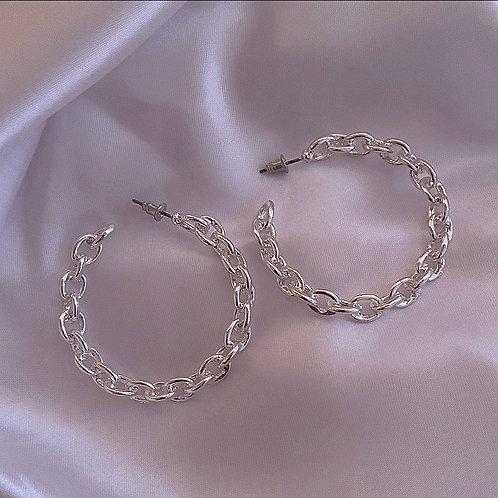 Medium silver chain hoop earrings