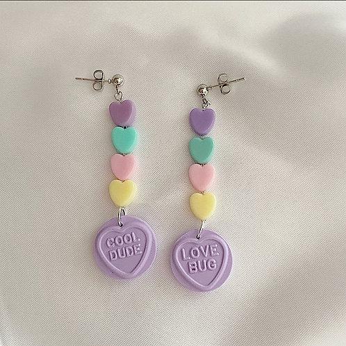Lilac pastel love heart earrings