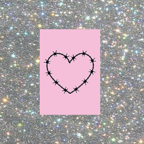 A4 pink barbed wire heart print