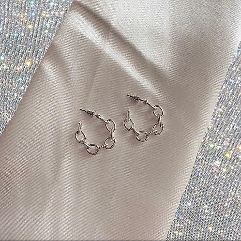 Mini silver tone chain hoop earrings