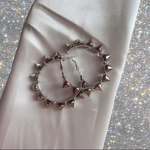 Spiky 5cm silver hoop earrings