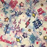 Pastel feminism girly girl gang empowerment print swimear bikini scrnchie faric