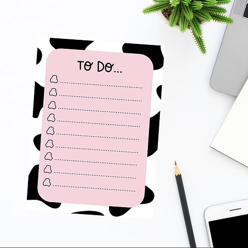 Cow print A5 to do lists (pack of 20, 10x double sided sheets)