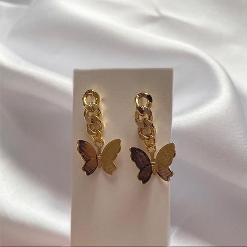Gold butterfly chunky chain earrings
