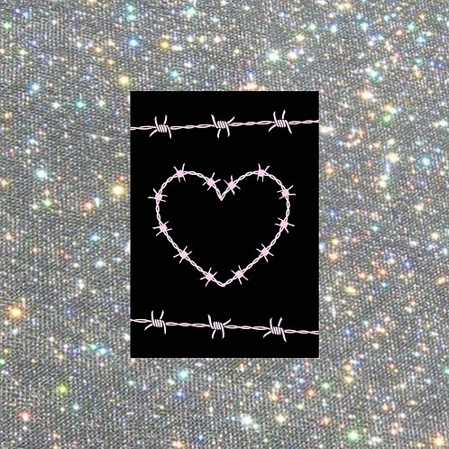 A4 black barbed wire heart print