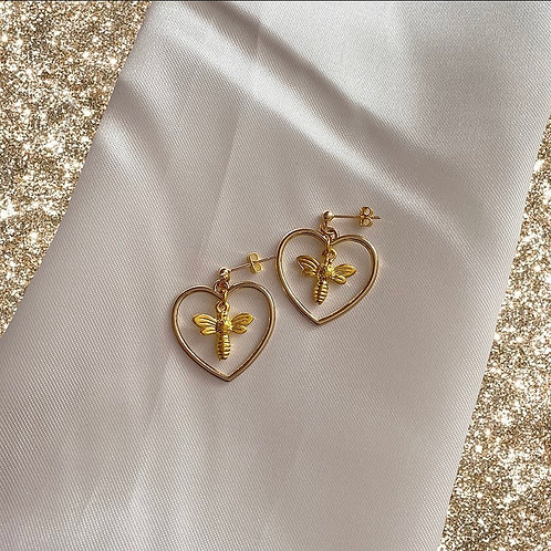 Gold bee heart earrings