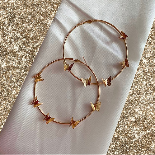 Golden butterfly 7cm large hoops