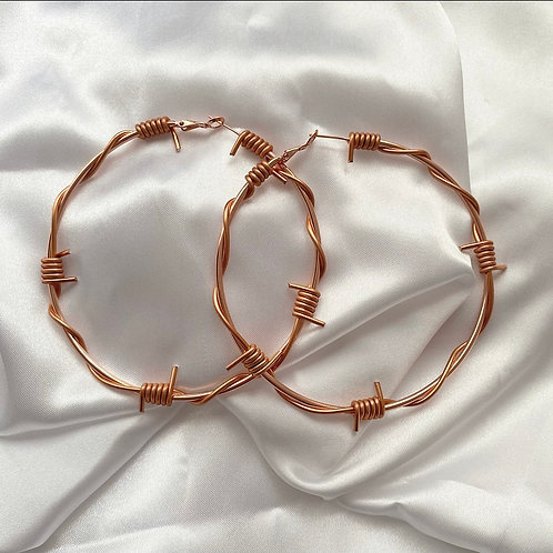 XL rose gold barbed wire hoops