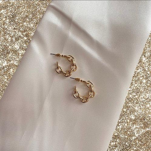 Mini gold tone chain hoop earrings