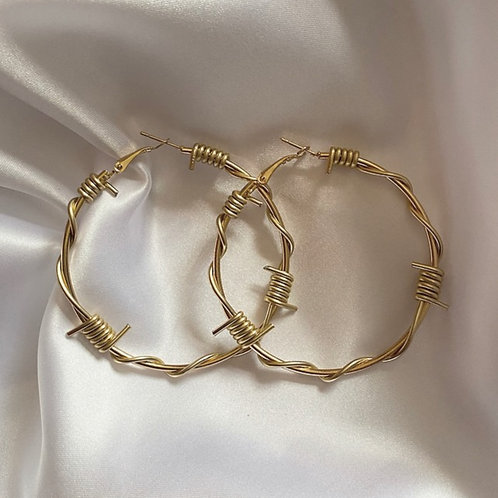 Gold coloured barbed wire hoop earrings