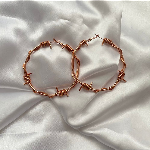 Rose gold large barbed wire hoop earrings