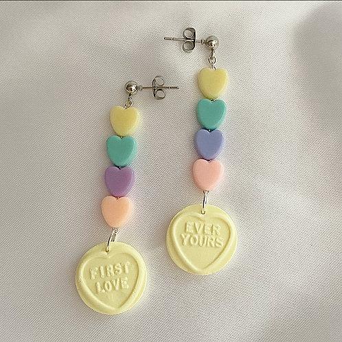 Lemon pastel loveheart sweet earrings