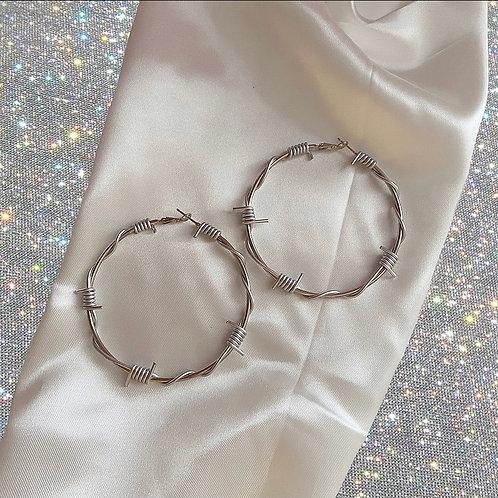XL silver barbed wire hoop earrings