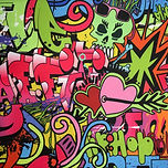 Pink graffitti hop hop grunge style swimwear bikini scrunhie fabric
