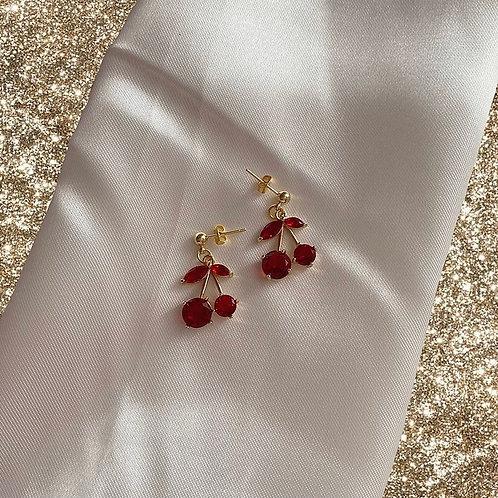 Red jewel cherry earrings