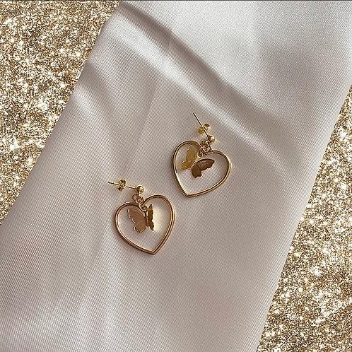 Gold butterfly heart earrings