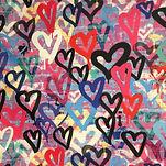 Heart graffitti colourful swimwear bikini scruncie material