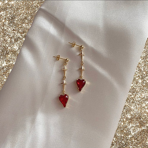 Red heart and gold cross earrings