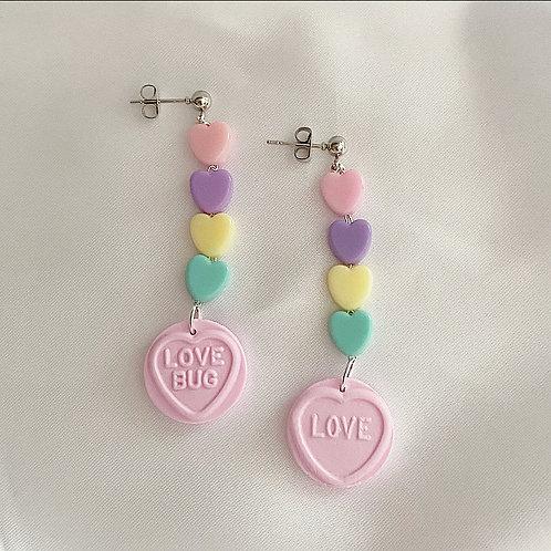 Pink pastel love heart earrings