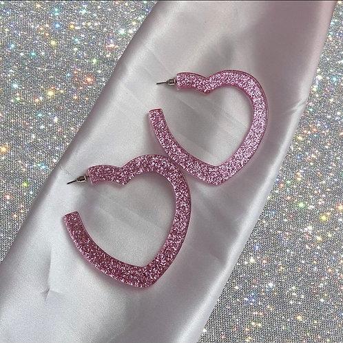 Large pink glitter heart hoops