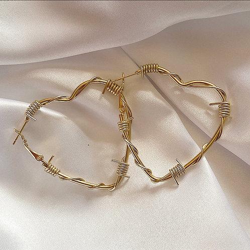 Gold barbed wire heart hoop earrings