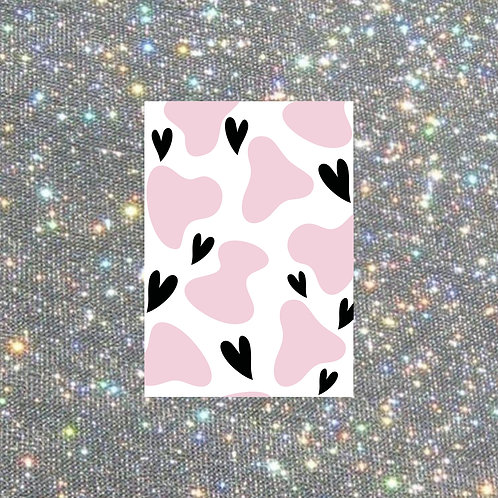 A5 pink cow and heart print