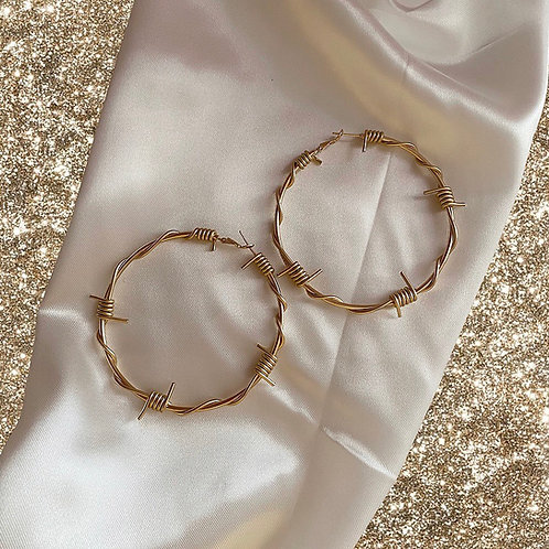 XL gold barbed wire hoop earrings