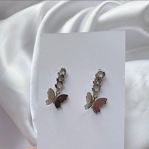 Silver butterfly chain earrings