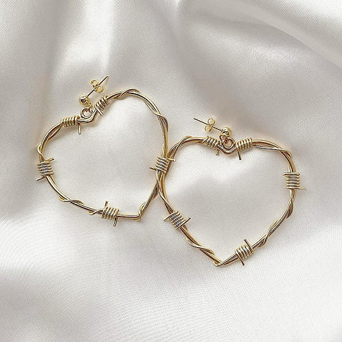 Gold barbed wire heart stud earrings