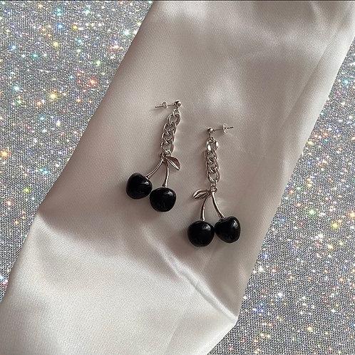 Oversized black cherry chain earrings