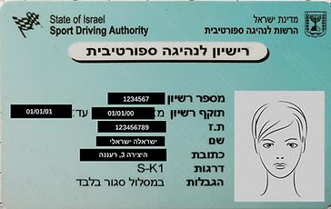רישיון נהיגה דוגמה