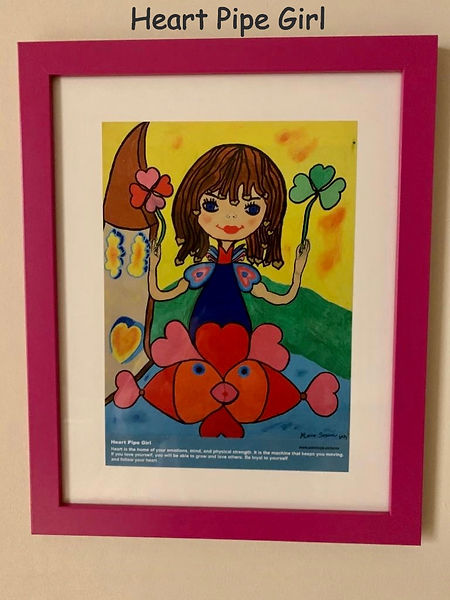 Heart Pipe Girl Painting