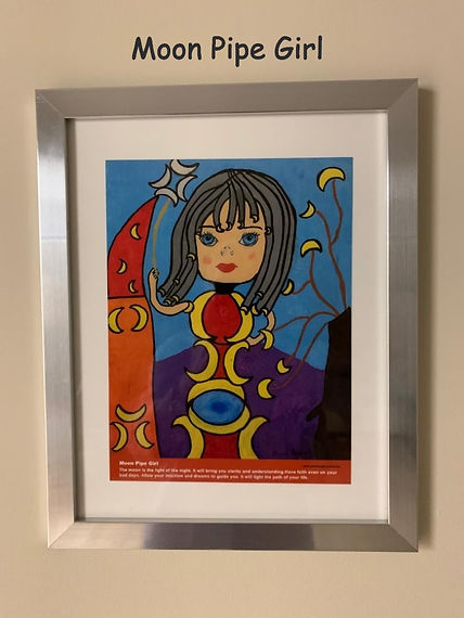 Moon Pipe Girl Painting