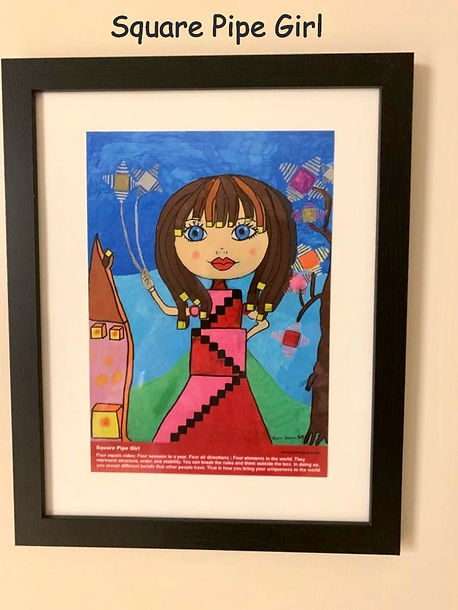 Square Pipe Girl Painting
