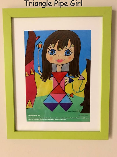 Triangle Pipe Girl Painting