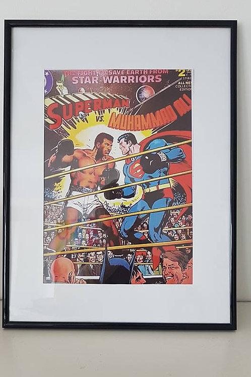Superman v Ali framed print