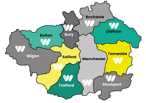 Greater Manchester map, where we cover